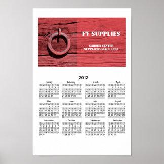 Calendario de pared de madera rojo rural rústico d impresiones