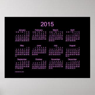Calendario de pared de neón de la púrpura 2015 impresiones
