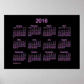 Calendario de pared de neón de la púrpura 2016 póster