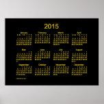 Calendario de pared de neón del oro 2015 poster