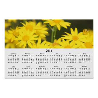Calendario de pared de oro de 2014 Wildflowers Poster