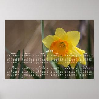 Calendario de pared de oro del narciso 2014 poster