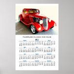 Calendario de pared del club del coche del colecto poster