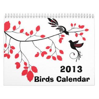 Calendario de pared del ~ de 2013 pájaros