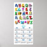 calendario de pared del dibujo animado del alfabet impresiones