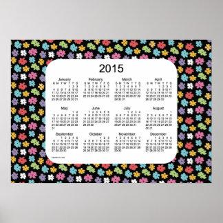 Calendario de pared del flower power 2015 por la póster