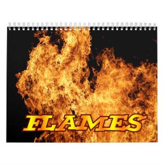 Calendario de pared del fuego de las llamas