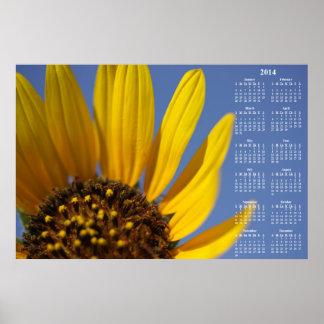 Calendario de pared del girasol 2014 y del cielo a impresiones