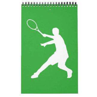 Calendario de pared del tenis para el jugador, el