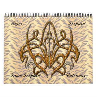 Calendario de pared del tigre y del leopardo 2015