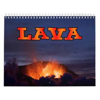Calendario de pared del volcán de la lava