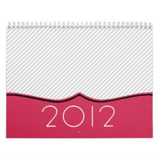 Calendario de pared elegante del rosa y del diseño