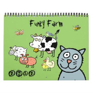 Calendario de pared enrrollado de la granja de los