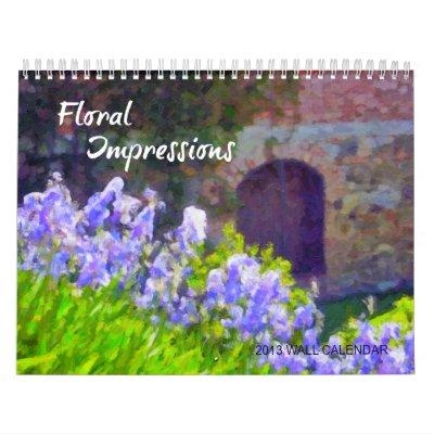 Calendario de pared floral de las impresiones 2013
