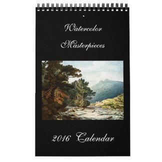 Calendario de pared hermoso de la bella arte 2016