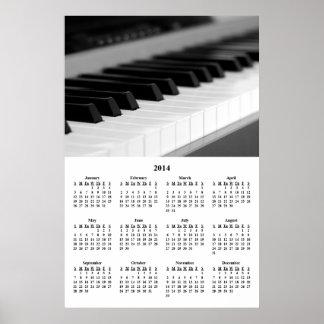 Calendario de pared hermoso del piano de la música posters