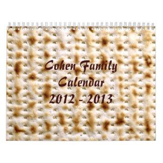 Calendario de pared judío DE ENCARGO del Matzo