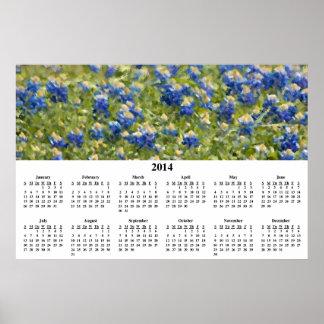 Calendario de pared pintado de 2014 Bluebonnets Impresiones