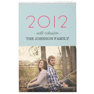 Calendario de pared rosado y azul elegante del