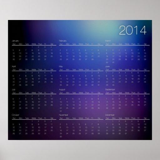 Calendario de pared tipográfico moderno 2014 poster