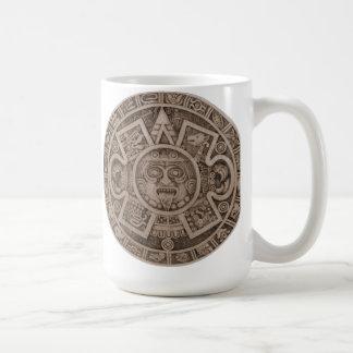 calendario de piedra azteca taza básica blanca