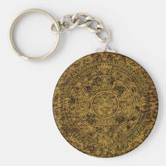 Calendario de piedra maya azteca envejecido de Sun Llavero Redondo Tipo Pin
