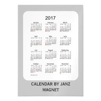 Calendario de plata del día de fiesta 2017 por el invitaciones magnéticas