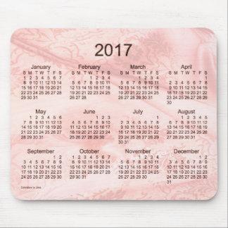 Calendario de seda rosado 2017 por el cojín de tapete de ratones