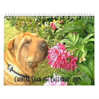 Calendario de Shar-pei del chino