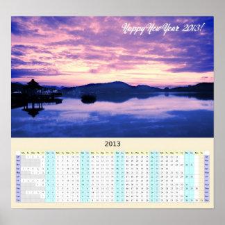 Calendario del Año-En-UNO-Vistazo 2013 con salida  Poster
