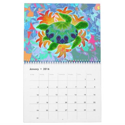 Calendario del arte 2012 de la tortuga de mar