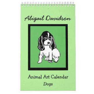 Calendario del arte del perro: Ilustrado por