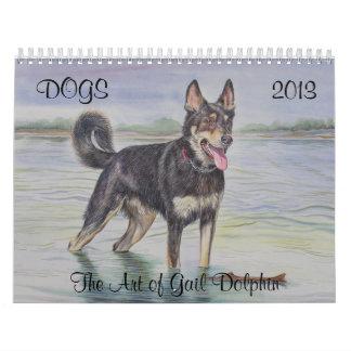 Calendario del arte del perro por el delfín de Gai