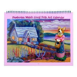 Calendario del arte popular del Corgi Galés del