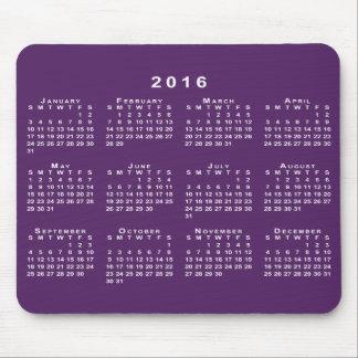 Calendario del blanco 2016 en Mousepad púrpura de