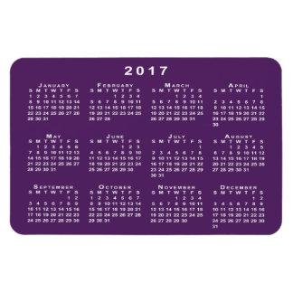 Calendario del blanco 2017, plantilla púrpura del imanes
