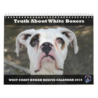 Calendario del boxeador del blanco del rescate