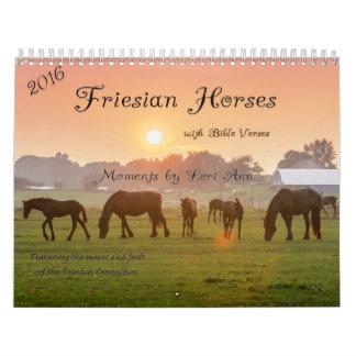 Calendario del caballo de 2016 frisios con versos