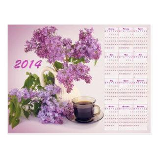 Calendario del café 2014 y de las flores postal