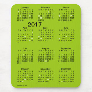 Calendario del día de fiesta del verde de la alfombrilla de ratones