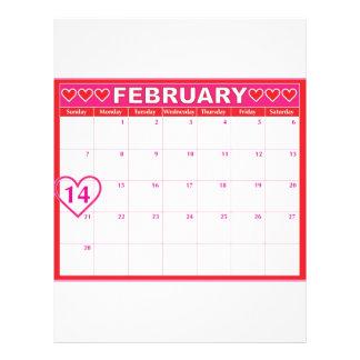 "Calendario del día de San Valentín Folleto 8.5"" X 11"""