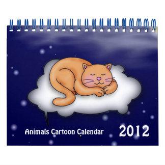 Calendario del dibujo animado 2012 de los animales