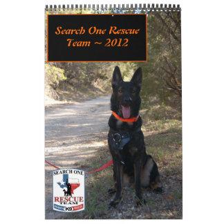 Calendario del equipo de rescate 2012 de la búsque