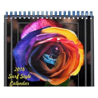 Calendario del estilo de la resaca 2016