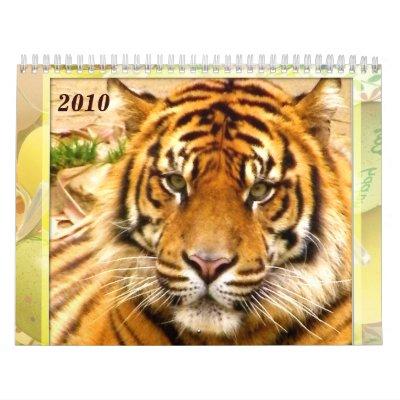 Calendario del Expression_2010 del tigre y del leó