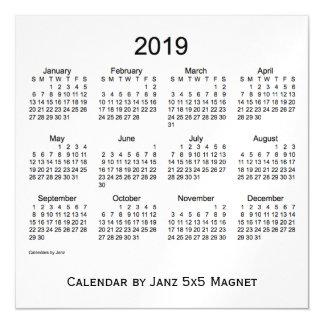 Calendario del humo de 2019 blancos por el imán de invitaciones magnéticas