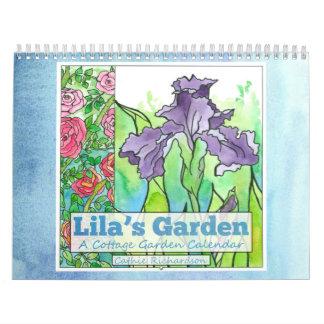 Calendario del jardín de flores de la acuarela