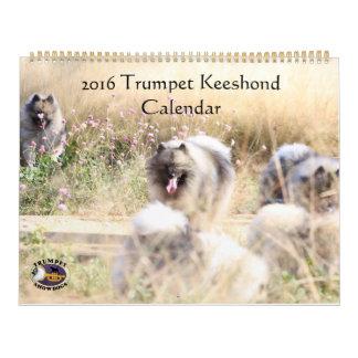 Calendario del Keeshond de la trompeta
