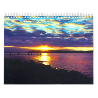 calendario del lago de la puesta del sol