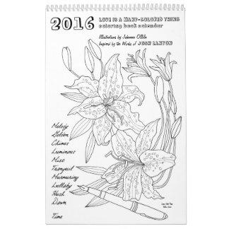 Calendario del libro de colorear 2016 de Josh